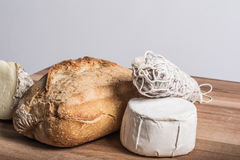 Bread, salami and  cheeses Stock Photography