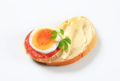 Bread with salami and egg Royalty Free Stock Photography