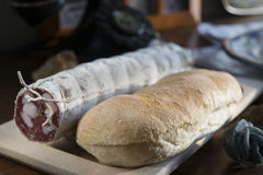 Bread and salami for a filled roll Stock Image