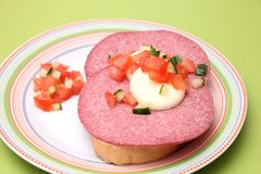 Bread with salami stock photography
