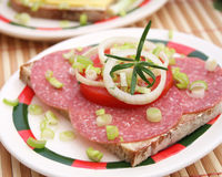 Bread with salami royalty free stock photo