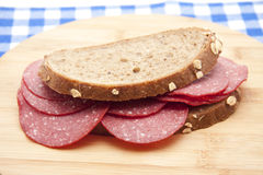 Bread with salamis Royalty Free Stock Image