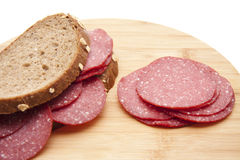 Bread with salamis Royalty Free Stock Photo