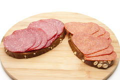 Bread with salamis Stock Image