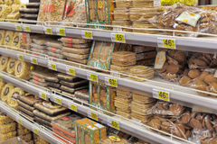 Bread for sale on a store shelves. Stock Photography