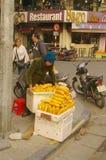 Bread saleswoman royalty free stock photography