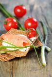 Bread with salmon and chives. Royalty Free Stock Image