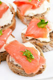 Bread with salmon, close up view Royalty Free Stock Photos