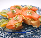Bread with salmon fish Stock Photos