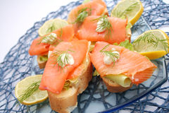 Bread with salmon fish Stock Photo