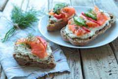 Bread with salmon Stock Photography