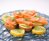 Bread with salmon Royalty Free Stock Images