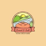 Bread and Salt hand drawn vintage vector badge Royalty Free Stock Photography