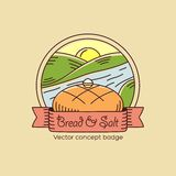 Bread and Salt Line Style Vector Badge or Logo Royalty Free Stock Photos