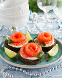 bread with salted salmon. Royalty Free Stock Photography