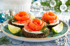 Bread with salted salmon. Royalty Free Stock Photos