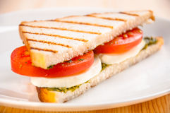 Bread sandwich with cheese, tomato. Healthy vegetarian snacks Stock Images