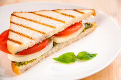 Bread sandwich with cheese, tomato. Healthy vegetarian snacks Stock Photography