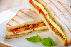 Bread sandwich with cheese, tomato. Healthy vegetarian snacks. Stock Photography