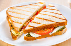 Bread sandwich with cheese, tomato. Healthy vegetarian snacks. Royalty Free Stock Photography