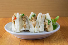 bread sandwich with tuna fish, slices on plate Stock Image
