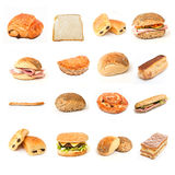 Bread and sandwiches and bakery collage. Bread and sandwiches and bakery  collage on white background Stock Photography