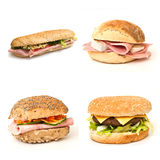 Bread and sandwiches  collage. Bread and sandwiches   collage on white background Stock Photo