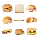 Bread and sandwiches collage. On white background Stock Image
