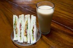 Bread sandwiches with fresh milk. Breakfast sandwich bread with milk Royalty Free Stock Image