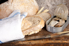 Bread and sardines Royalty Free Stock Image