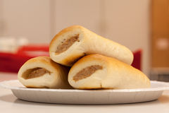 Bread with a sausage Stock Photography