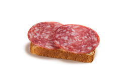 Bread and sausage. Sandwich - bread and salami sausage Royalty Free Stock Images