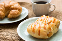 Bread with Sausage , cup of black coffee Royalty Free Stock Photography