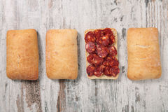 Bread and sausage Royalty Free Stock Images