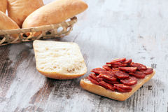 Bread and sausage Royalty Free Stock Photos