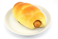The Bread with Sausage on white plate Stock Photo