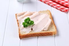 Bread with savory spread Stock Photography