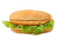 Bread with schnitzel and lettuce Stock Image
