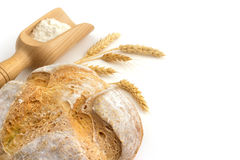 Bread, scoop of white flour and bunch of ears Stock Images