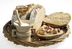 Bread with scraps. Bread with lard and scraps Stock Photo
