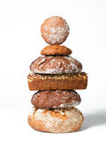 Bread sculpture. Different round and Square breads arranged as a sculpture Royalty Free Stock Image