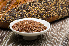 Bread seeds and flaxseeds Royalty Free Stock Photography