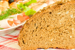 Bread with seeds and meat Royalty Free Stock Images