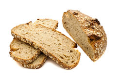 Bread with seeds on white background Royalty Free Stock Photo