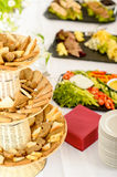 Bread selection catering buffet served food Stock Photos