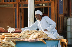 Bread seller on street of Hurghada. Egypt Royalty Free Stock Photo