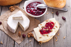 Bread served with camembert and cranberry. Royalty Free Stock Photos