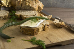 Bread served with chesse brie Stock Photography
