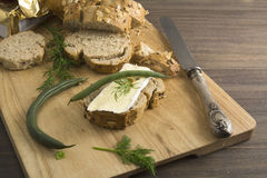 Bread served with chesse brie Stock Photo