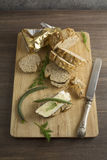 Bread served with chesse brie Stock Image